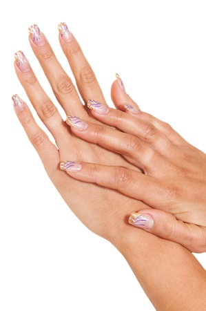 womens hand with painted nails