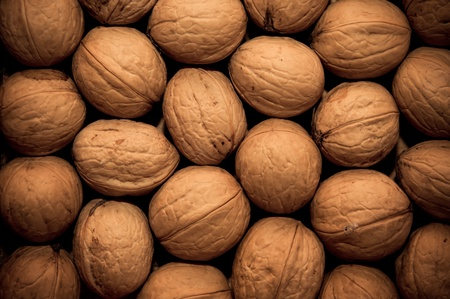 group of walnuts as background photo