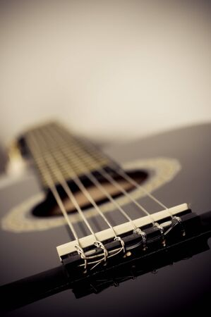 fretboard: classical acoustic guitar close up