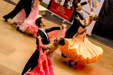 STARGARD, POLAND, December 1: Competitors dancing slow waltz on  the dance conquest December 1, 2013 in Stargard, Poland