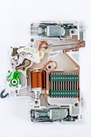 inside of circuit breaker on the white background photo
