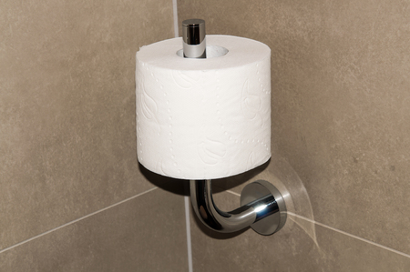 Toilet roll in beige toilet, lavatory convenience restroom full tiled wall  photo