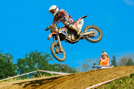 bicycle race: motocross riders on the race
