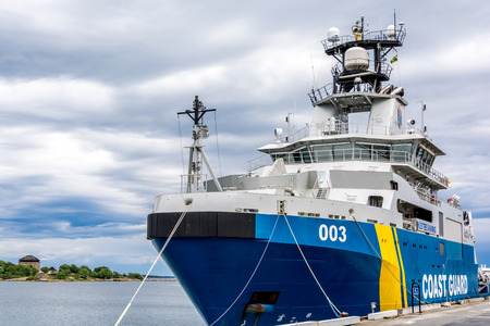 guard ship: Swedish cost guard ship in Karlskrona sea port Editorial