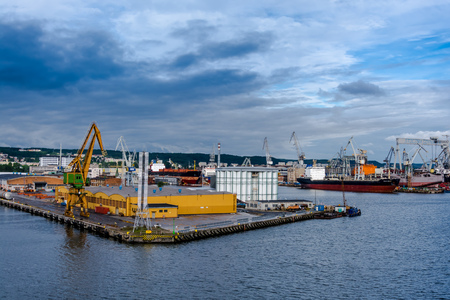 View of the quay port and shipyard of Gdynia, Poland