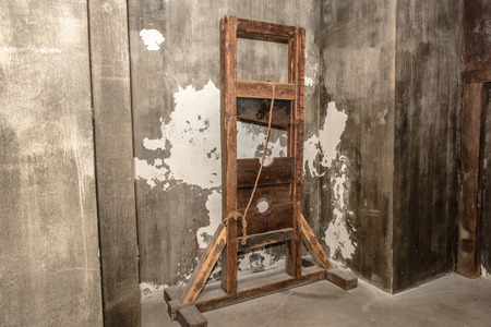 guillotine: guillotine in the museum of torture Stock Photo