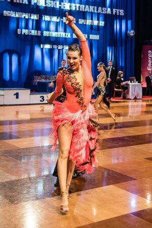 paso doble: RUMIA, POLAND - MARCH 19: Dancers dancing ballroom dance at the Polish Polish Grand Prix in dance on March 19, 2016 in Rumia, Poland