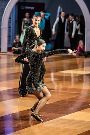 jive: RUMIA, POLAND - MARCH 20: Dancers dancing ballroom dance at the Polish Polish Grand Prix in dance on March 20, 2016 in Rumia, Poland Editorial
