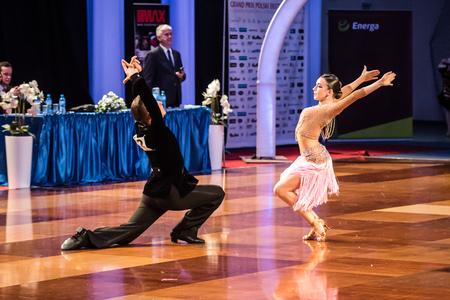 paso doble: RUMIA, POLAND - MARCH 20: Dancers dancing ballroom dance at the Polish Polish Grand Prix in dance on March 20, 2016 in Rumia, Poland Editorial