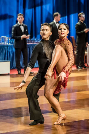 jive: RUMIA, POLAND - MARCH 19: Dancers dancing ballroom dance at the Polish Polish Grand Prix in dance on March 19, 2016 in Rumia, Poland