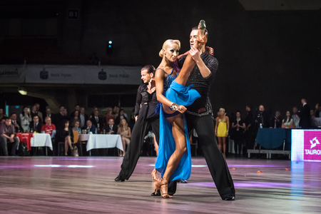 jive: Wroclaw, Poland - May 14, 2016: An unidentified dance couple dancing latin dance during World Dance Sport Federation International Latin Adult Dance, on May 14 in Wroclaw, Poland