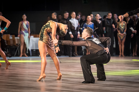 cha: Wroclaw, Poland - May 14, 2016: An unidentified dance couple dancing latin dance during World Dance Sport Federation International Latin Adult Dance, on May 14 in Wroclaw, Poland