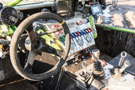rally car: inside of offroad rally car Stock Photo