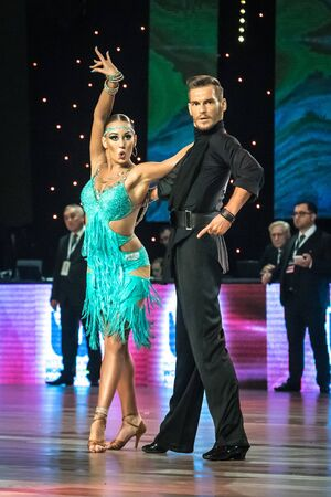 paso doble: Wroclaw, Poland - May 14, 2016: An unidentified dance couple dancing latin dance during World Dance Sport Federation International Latin Adult Dance, on May 14 in Wroclaw, Poland