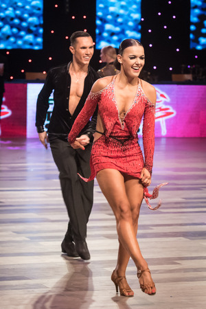 Wroclaw, Poland - May 14, 2016: An unidentified dance couple dancing latin dance during World Dance Sport Federation International Latin Adult Dance, on May 14 in Wroclaw, Poland