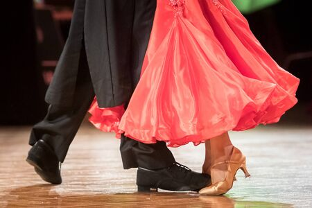 couple dancing standard dance on the dancefloor Stock Photo