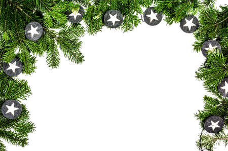 chritmas tree branch on the white background Stock Photo