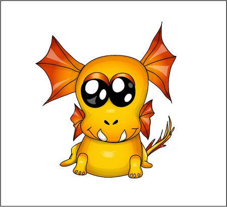 Funny yellow dragon. vector illustration eps 10 Vector