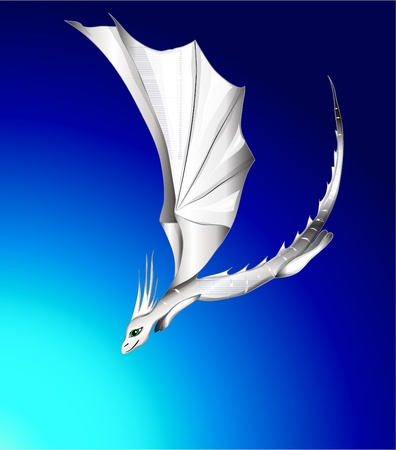 flying dragon: white flying dragon. vector illustration eps 10
