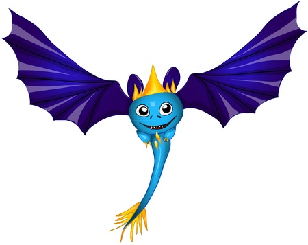 cute bat dragon. vector illustration eps 10