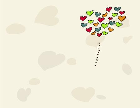 vector illustration balloon in form of love heart Stock Vector - 12351263