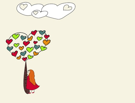 heart tree and clouds background with girl. vector illustration Vector