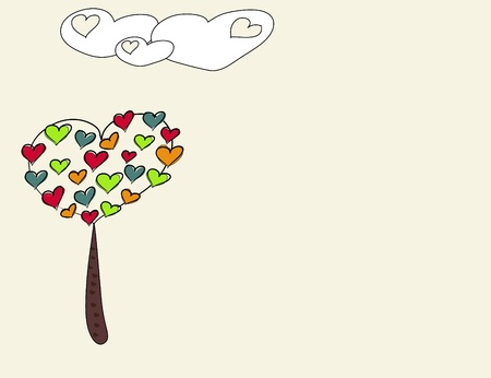 abstract heart tree and clouds background vector illustration