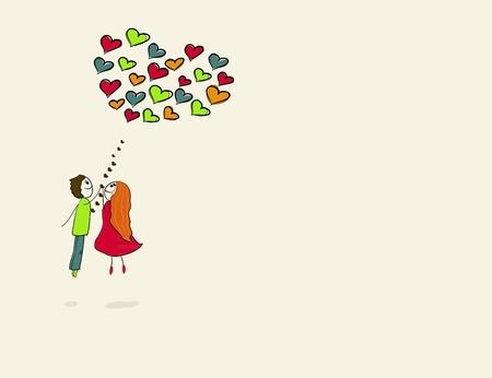 flight with a heart shaped balloon. vector illustration