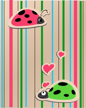 ladybirds in love vector illustration whit bright background Stock Vector - 12351282