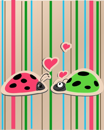 abstract love: ladybirds in love vector illustration whit bright background