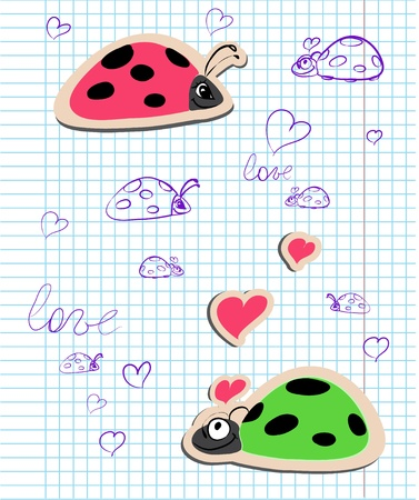 ladybugs in love vector illustration on the exercise book background Vector