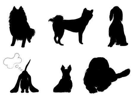 silhouettes set breeds of dog vector illustration eps 8 Vector