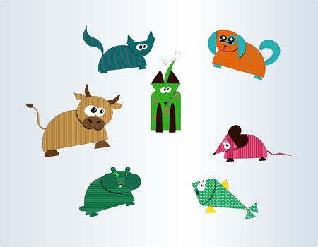 Collection of seven cute farm and pet animals  vector illustration Vector