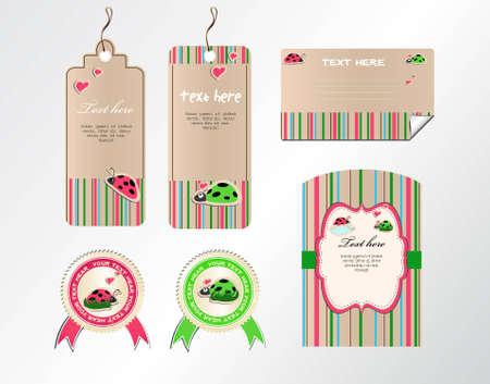 bugs shopping: conjunto de vectores de las etiquetas de las etiquetas y las tarjetas con las mariquitas graciosas sobre un fondo de rayas Vectores
