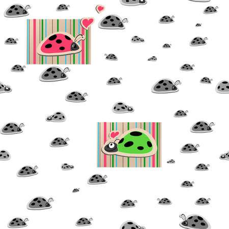 vector seamless wallpaper with ladybirds in love Stock Vector - 12491219
