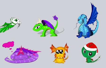 wyvern: vector set of cartoon dragons eps 10 illustration Illustration