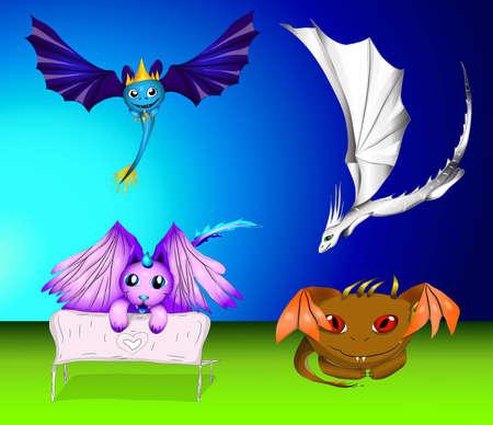 wyvern: vector set of cartoon dragons and monsters eps 10 illustration Illustration