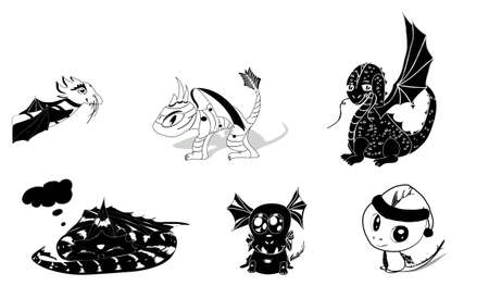 wyvern: vector set of 6 dragons silhouettes cute and cartoony  eps 8