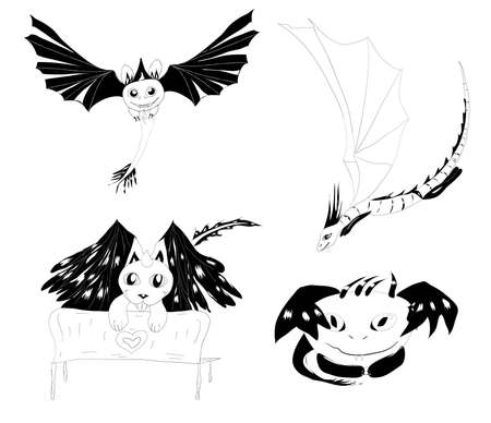 flying dragon:  set of 4 monsters silhouettes cute and cartoony    Illustration