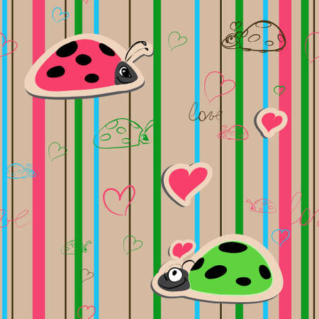 cartoon wedding couple: vector seamless wallpaper with ladybirds in love Illustration