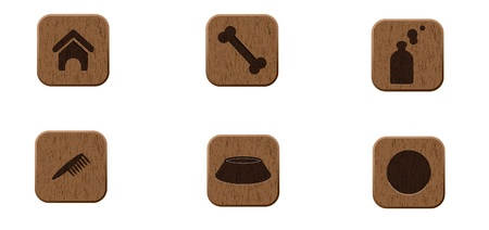 Pets wooden icons set vector illustration  Vector