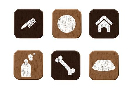 Pet shop wooden icons set  illustration