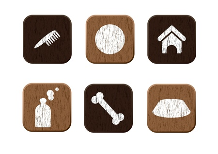 cat carrier: Pet shop wooden icons set  illustration