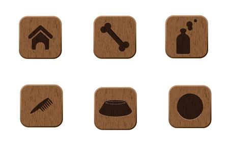 Pets wooden icons set  illustration