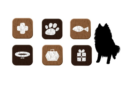 dog collar: Pet shop wooden icons set with dog s silhouette    Illustration