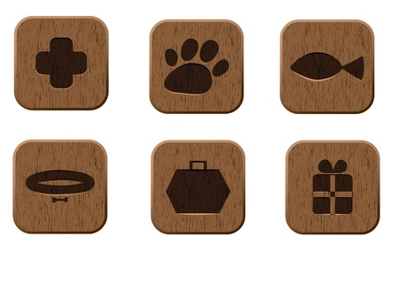 grooming: Pet shop wooden icons set