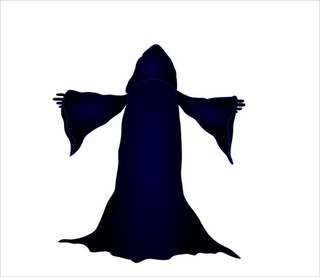 adherent: silhouette  illustration of a wizard