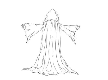 druid:  outline  illustration of a wizard or monk   Illustration