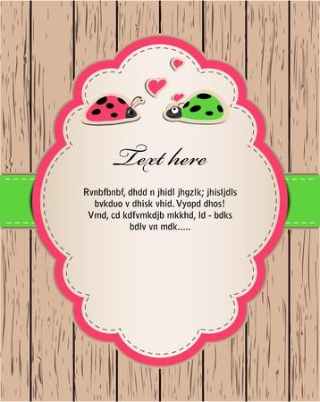 bugs shopping: tarjeta de madera con las mariquitas en amor.