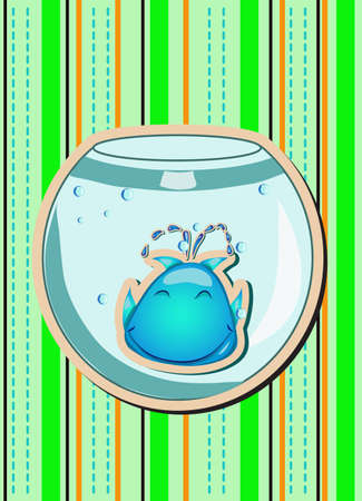 Abstract illustration of whale in aquarium   Vector